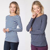 Ladies Striped Long Sleeved Rydale Women's Nautical Cotton Stretch T-Shirt Top