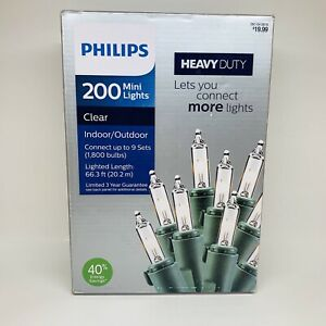 ✨✅ Philips 200 Count HEAVY DUTY Incandescent Mini String Lights Clear BRAND NEW