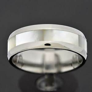 8mm Mother of Pearl Inlay Tungsten Carbide Round Edge Band Men's Wedding Ring TR
