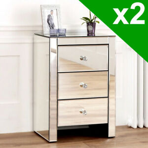 2x Venetian Mirrored 3 Drawer Bedside Table - Nightstand Table Pair VEN07-2-QTY