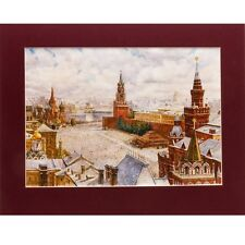 Red Square Watercolor Painting Made in Russia Wall Art Decor Moscow Kremlin SALE