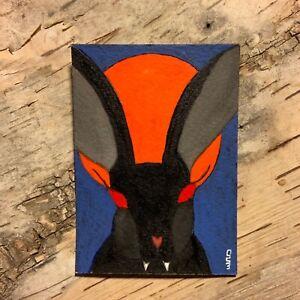 Black Bunny Vampire Halloween Art Original ACEO Surreal Acrylic Painting 2.5x3.5