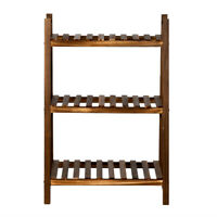 3layers Multifunctional Carbonized Wood Plant Rack Indoor Outdoor Plant Stand
