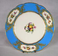 Antique Coalport Cabinet Plaque ~ Anglaise ~ turquoise or doré ~ 19thc après SEVRES