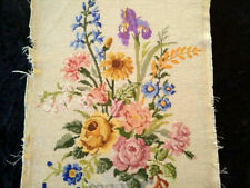 Large Urn Flowers Completed Needlepoint  Vintage Hand Made Panel-Ready to use