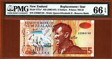 New Zealand 1992 Replacement $5 Prefix ZZ Pick-177a GEM UNC PMG 66 EPQ