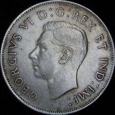 1943 XF+ (AU-)  Canada Silver 50 Cents (Fifty, Half) - KM# 36 - Free Ship - JG