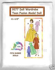 """Fits Barbie Doll Wardrobe Pattern 11 1/2"""" Teen model Dolls 9277"""