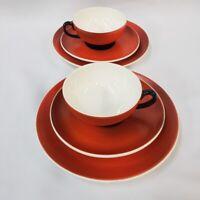 Teacup Tea Cup Saucer Plate Set Red Orange Black Signed and Numbered 4 Times OLD