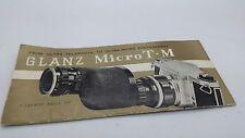 Original Granz Micro T-M Lens Instruction manual 12p