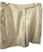 Talbots Womens Chino Dress Shorts Flat Front Stretch Khaki Sz 16 XL