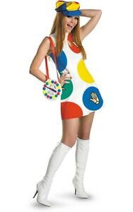LICENSED ADULT WOMENS SEXY TWISTER 60s 70s BOARD GAME RETRO FANCY DRESS COSTUME