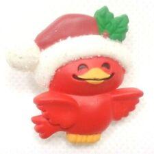 VINTAGE 1982 HALLMARK CARDS INC PLASTIC RED CHRISTMAS CARDINAL BIRD BROOCH PIN