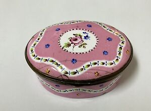 Antique 18th C Staffordshire/Bilston Enamel snuff pill box Pink Rose