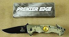 Premier Edge Rescue Folding Knife - Belt Cutter Glass Breaker Don't Tread on Me