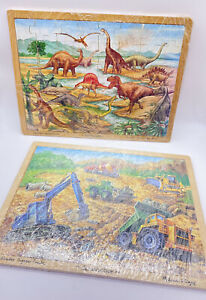 Melissa & Doug Wooden Jigsaw Tray Puzzle Construction & Dinosaurs