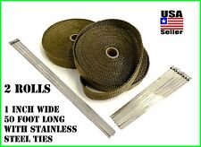 "Titanium Lava Exhaust Header Pipe Heat Wrap 2 Rolls 1""x50' Stainless ties kit"