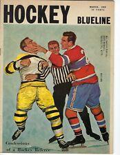 1959 Blueline hockey magazine, Boston Bruins Montreal Canadiens Dow Beer ad VG