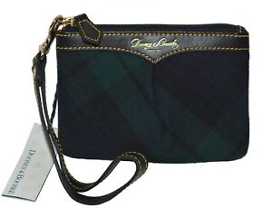 Dooney & Bourke Green Tartan Plaid Small Wristlet Zip Top Clutch Wallet Bag