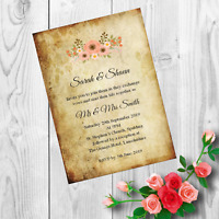Personalised Handmade Wedding Invitations Invites Day Evening Vintage x 50 AWI4