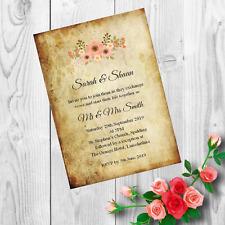 Personalised Handmade Wedding Invitations Invites Day Evening Vintage x 50 AWI4