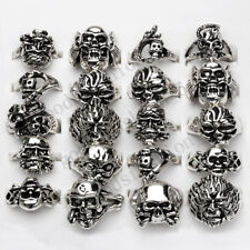 wholesale lots 30pcs Gothic skull carved biker assorted men silver tone rings