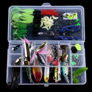110Pcs Multi-function Fishing Lure Crankbait Soft Spinner Pencil Tackle Box Set