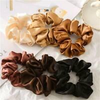 Fashion Silk Satin Scrunchie Elastic Hairbands Women Girls Hair Rope Tie Rings
