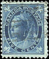 1897 Used Canada 5c F Scott #70 Queen Victoria Maple Leaf Stamp