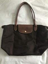 Small Longchamp Le Pliage Brown Long Handle shoulder bag tote nylon