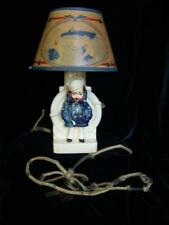 Antique Lamp of Sailor Boy with Matching Shade, Small, Needs Rewiring, WWII