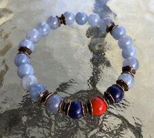 Aquamarine Lapis Lazuli Red Coral Handmade Mala Beads Bracelet