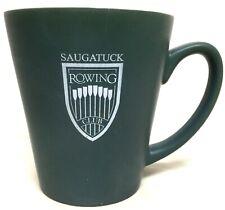 SAUGATUCK ROWING CLUB AMAZING GREEN COFFEE CUP MUG WHITE CREST EUC