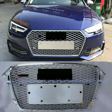 Audi A4 S4 B8 2013-2016 RS Style Euro Honeycomb Hex Mesh Gloss Silver Grill