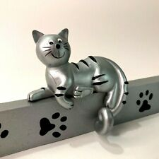 Wall Coat Hook Kitty Cat and Paw Prints Powder Coated Silver Steel