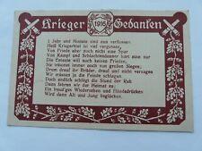 "German WW1 Patriotic Postcard ""Krieger Gedanken"" 1916"
