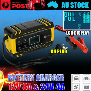 LCD 12V/24V Smart Automatic Battery Charger Boat Caravan Motorcycle Truck Car AU