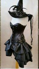 GOTHIC  Bustle Black Taffeta Victorian Steampunk Skirt Overskirt10 12 14 16 18