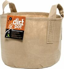 Hydrofarm Dirt Pot with Handle, 5 Gallon,Tan Flexible Portable Fabric Planter,