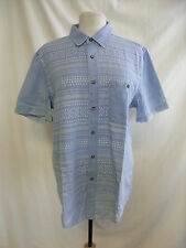 Mens Shirt - Topman, size L, distressed blue, aztec print, used/worn - 0559
