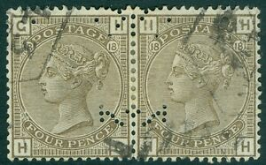 EDW1949SELL : GREAT BRITAIN 1880 Sc #84 PL18 VF & Choice Used Perfin Cat $135+