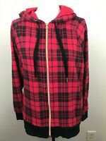 Victoria's Sport Women's Knit Jacket Hoodie Zipper Front Red Black Plaid Small
