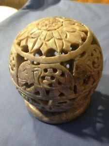 Elephant Design Soapstone Globe Hand Crafted insence burner