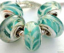 5PCS Silver Single Core Murano Lamp Glass Beads fit European Charm Bracelet A041