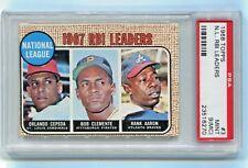 1968 Topps #3 N.L. RBI Leaders Hank Aaron, Roberto Clemente + Cepeda PSA 9(MC)