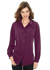 Plum Purple Shirt Style Blouse with Embroidery Detail size 22