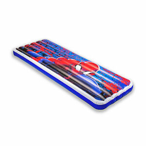 Living iQ Inflatable Jr Twin Travel Size Kids Air Bed Mattress, Marvel Spiderman