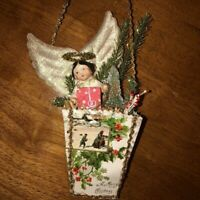 Antique Victorian Angel Christmas Ornament OOAK Handmade 3D Vintage Assemblage