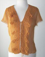 PRADA Copper Sheer Silk Ruffle Tie Blouse Shirt Top 44 8