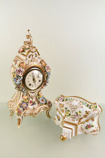 German Dresden porcelain clock with console majolica flower signed